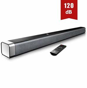 BOMAKER Barre de Son sans fil 120dB, Barre de Son pour TV 2.0 Canal Haut-Parleur, Wireless Bluetooth 5.0 Soundbar, Son Surround Home Cinéma – ODINE I
