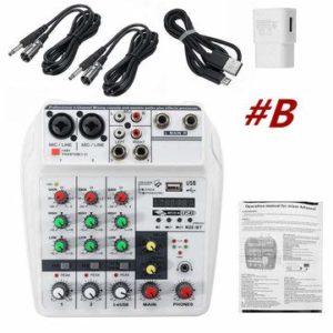 BouBou Console de mixage Audio Studio stéréo Bluetooth USB Mixer 4 canaux numérique – B