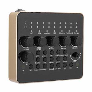 Carte Son de Diffusion en Direct V10, Prend en Charge le Mélangeur Audio Bluetooth, 2 puces DSP Intégrées, Mini-table de Mixage, équipement de Conversion Vocale, Carte Son Audio Externe