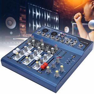Console de mixage sonore, mélangeur Professionnel à Faible Bruit à Double Affichage à LED à 4 canaux avec Console de mixage de Module USB MP3 pour l'enregistrement DJ(UE)
