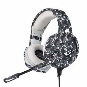 Écouteurs stéréo Gaming Noise Cancelling Over avec microphone, lumière LED, basses Surround, pour PS4, PC, Xbox One