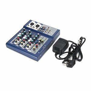 F-4 Console audio 4 canaux EU 230 V Live Mixing Studio Audio Audio Console Réseau Anker Mélangeur portable Effet Vocal Bleu et Noir