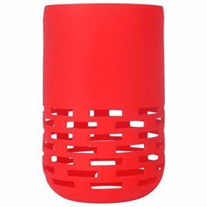 Fanuse Haut-Parleur Antichoc Colonne Souple Housse de en Silicone Durable pour Haut-Parleur Maison Portable (Rouge)