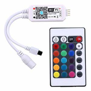 FHJZXDGHNXFGH Mini télécommande WiFi + IR 24Keys RGB LED Controller iOS Android APP pour RGB/RGBW LED Strip Lights