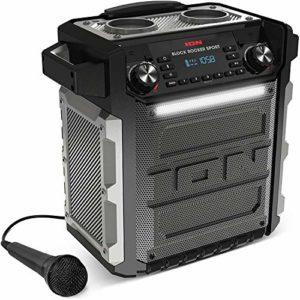 ION Audio Block Rocker Sport – Enceinte Bluetooth Étanche 100 W avec Batterie Rechargeable Longue Durée, Microphone, Radio AM/FM, Barre Lumineuse et Entrée Aux