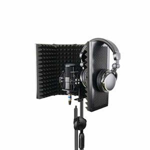 Konesky Bouclier d'isolation de Microphone, Réflecteur Absorbant le Son Studio Mic Mousse Acoustique EVA de Qualité Studio (5 Porte)