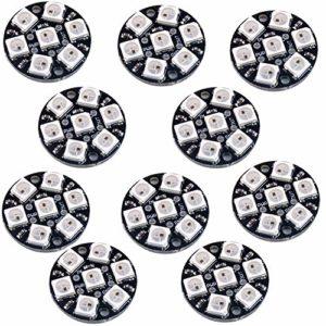 Lot de 10 ampoules LED 7 embouts WS2812 5050 RVB avec conducteurs intégrés