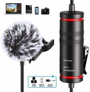 Microphone à clip professionnel Lavalier pour smartphone iPhone et appareil photo Canon Nikon Mini Micro 3,5 mm