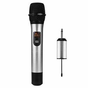 Microphone Dynamique Sans Fil Professionnel Portable avec Récepteur, pour Karaoké Familial, Les Promotions du Centre Commercial, Discours en Plein Air, Cérémonie