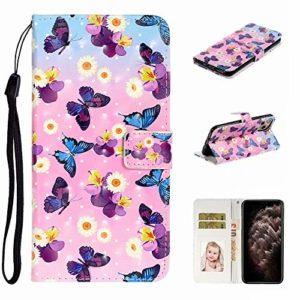 Nadoli Personnalisé 3D Effet Jolie Papillon Fleur Faux Cuir Béquille Emplacements pour Cartes Magnétique Portefeuille Cas Coque Housse pour iPhone 11 Max 6.5″