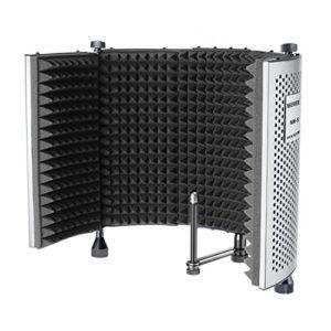 Neewer NW-5 Panneau Isolation Vocal Portable Pliable Réglable pour Micro en Aluminium Bouclier de Microphone avec Mousse de Haute Densité, Pieds Antidérapants
