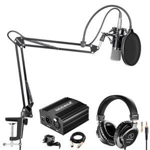 Neewer NW-700 Kit Microphone Condensateur et Casque Studio avec Alimentation Fantôme 48V, NW-35 Bras, Antichoc et Antipop pour Enregistrement(Noir)
