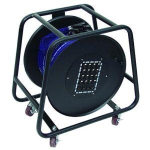 Omnitronic 059727 Multi cour Stagebox Enrouleur de câble 16/4 50 m Noir