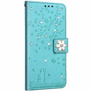 Saceebe Compatible avec Huawei P8 Lite 2017 Coque Pochette Portefeuille Housse Cuir Glitter Diamant Fleur de cerisier Chat Coque Flip Case Support Stand Housse Magnétique Étui à Rabat,Vert