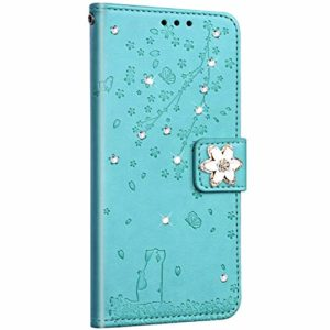 Saceebe Compatible avec Samsung Galaxy S6 Coque Pochette Portefeuille Housse Cuir Glitter Diamant Fleur de cerisier Chat Coque Flip Case Support Stand Housse Magnétique Étui à Rabat,Vert