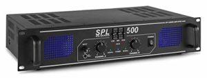 Skytec SPL 500 Amplificateur 2 x 250 W EQ, Egaliseur 3 bandes, Audio 2.0, 3 prises RCA, Sélecteur d'entrée, Prise jack 3,5mm, LED témoin d'écrêtage, Idéal pour la Hifi, Parfait pour les DJs