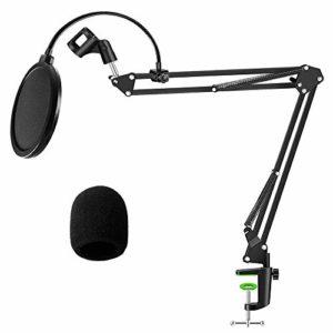 Support de microphone réglable avec filtre anti-pop pour suspension de microphone, bras en ciseaux, support de micro pour enregistrement en studio, diffusion en streaming, chant (A)