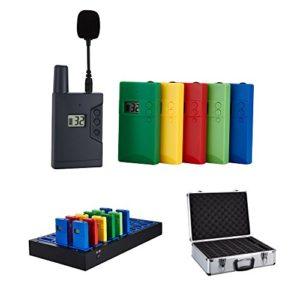 Système de guide touristique WUS,langage sans fil, radioguide, système de traduction simultanée 1 Transmitter 100 receivers 1 charge case 1 box Gris, rouge, jaune, bleu, vert.