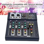 Table de mixage sonore, Table de mixage de scène 4 canaux Table de mixage stéréo intégrée 7 Modes de Musique avec Effets d'égalisation 3 Bandes du mélangeur Performance Karaoke Live (EU220V)