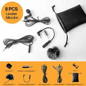 Tiisen Lavalier Microphone pour Smartphone PC 2 Adaptateurs pour iPhone, Android Smartphone Microphone pour Smartphone PC