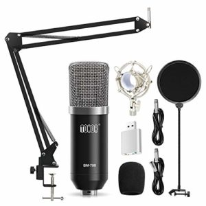 TONOR Microphone à Condensateur Podcasting Studio Enregistrement Pour Ordinateur Avec Microphone Réglable Suspension Perche Ciseaux Bras Microphone Kits Noir