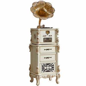 Tourne-disque Rétro Vinyle phonographes Big Horn Vintage classique phonographes Décoration en bois massif Gramophone Antique Lecteur De Vinyle De Style Vintage ( Color : White , Size : 55x45x183cm )