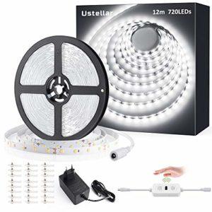 Ustellar Ruban LED Blanc 12m 6000K avec Détecteur de movement, Eclairage Dimmable Sous Meuble avec 10 Niveaux de Luminosité Réglable, Bande Lumineux Adhésif, 3600lm, 720LEDs,Blanc Froid