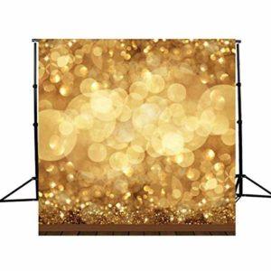XiaoMall Toile de fond pour studio photo à paillettes Doré 10 x 10 m