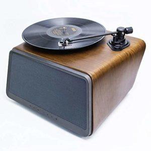 Yinglihua Tourne-Disque Rétro Vinyle LP phonographes Bluetooth Speaker Accueil Petit Noyer Disque Vinyle Lecteur Smart Audio Lecteur De Vinyle De Style Vintage (Color : Brown, Size : 38x35x25cm)