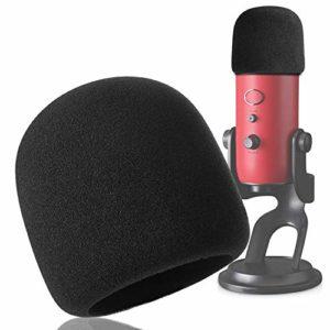 YOUSHARES Filtre Anti Pop et Anti-vent pour Blue Yeti Microphone, Blue Yeti Pro Micro Anti Vent Bonnette Mousse Comme Pare-Brise Efficace Enlever les Bruits(Noir)