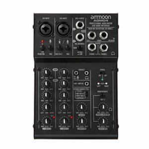 ammoon Console de Mixage Table de Mixage 4 Canaux Mixeur Audio Numérique avec EQ 2 Bandes Intégrées Alimentation Fantôme 48V et USB 5V pour Enregistrement en Studio DJ Karaoké