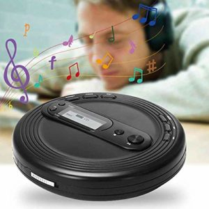 Buyfunny01 Lecteur CD portable avec protection antidérapante, radio FM et écouteurs stéréo, interface USB, Pas de zéro, Noir , Taille unique