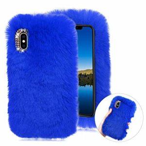 CESTOR Hiver Chaud Fourrure Coque pour Samsung Galaxy S20 Ultra Mignon Femmes Filles 3D Handmade Velu Peluche Étui de Protection Souple Silicone TPU Anti-Choc Housse avec Brillant Strass,Bleu