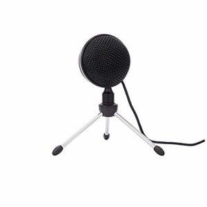 COJFEFG Microphone USB, Noir Microphone à condensateur, Convient for Les Ordinateurs, podcasts, Jeux, vidéos, Musique enregistrée, la Voix
