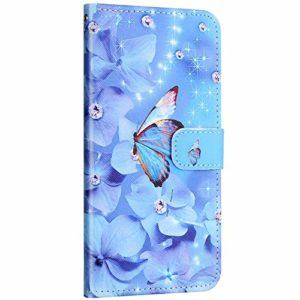 Compatible avec Samsung Galaxy A50 Etui en Cuir Coque Pochette Portefeuille Housse Motif Coloré Coque avec Support Stand Porte-Cartes Rabat Magnétique Clapet Flip Case,Papillon