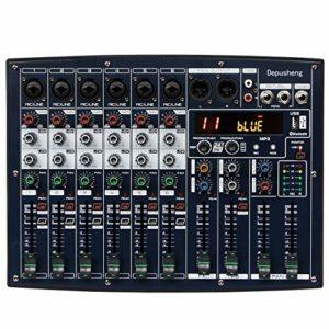 Depusheng BX6 Compact Console de mixage à 6 canaux avec 16 effets DSP Prise en charge de l'alimentation fantôme 48 V intégrée Connexion Bluetooth