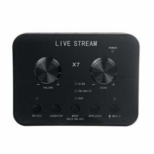 EasyBuying X7 Live Carte son micro 20 fonctions changeur de voix pour téléphone portable, PC, ordinateur