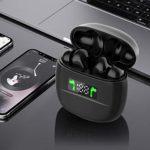Écouteurs intra-auriculaires sans fil Bluetooth 5.2 avec microphone et étui de charge portable pour smartphones iOS Android Blanc.