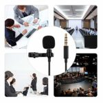 Extaum microphone à pince,Microphone à pince professionnel Lavalier Prise audio 3,5 mm Compatible avec Android Smartphones Windows Livré avec 2 mètres de fil d'extension