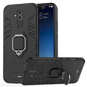 Fetrim Coque Huawei Mate 20 Lite, Étui TPU PC Antichoc Housse Anti Rayure Cover Intégrée plaque de fer avec Bague Support pour Huawei Mate 20 Lite (Noir)