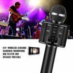 FOLWME KTV sans Fil karaoké Microphone à Main Lecteur USB Micro Haut-Parleur Portable de noël fête d'anniversaire à la Maison