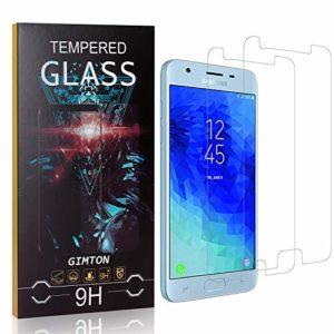 GIMTON Verre Trempé pour Galaxy J3 2018, 3D Touch Ultra Résistant Protection en Verre Trempé Écran pour Samsung Galaxy J3 2018, sans Traces de Doigts, 2 Pièces