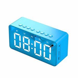 Goldyqin Bt506 Mini miroir avec réveil et haut-parleur Bleu
