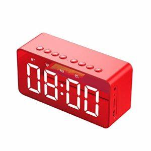 Goldyqin Bt506 Mini miroir avec réveil et haut-parleur Rouge
