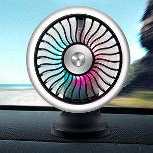 GREENLANS Dégradé Coloré Respiration Ventilateur De Voiture Léger, Voiture Auto USB à Faible Bruit électrique Réglable Mini Air Vent Cooling Fan Cooler Noir