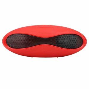 Haut-parleur Bluetooth ovale, haut-parleur portable sans fil avec fente pour carte, fonction de téléphone FM, son surround stéréo, haut-parleur de basses puissant JL5.0 haut-parleur Bluetooth pour iOS