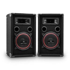 MALONE PA-220-P – Paire de Haut-parleurs, Haut-parleurs 3 Voies, Enceintes passives, Puissance 2 x 500 Watts Max, Subwoofer de 20 cm (8″), Tweeter, Réponse de fréquence: 50 Hz à 20 kHz, Noir