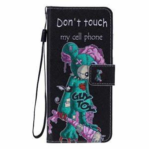 Miagon PU Cuir Coque pour iPhone XS/X,Coloré Motif Portefeuille Étui Housse Cover avec Stand Support Porte-Cartes de Crédit,Vert Souris