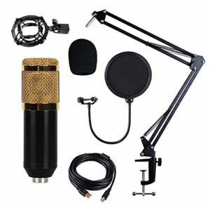 Microphone USB pour Podcast, Windows Microphone pour Enregistrement Studio Conversation Youtube,d'or