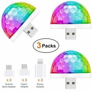 Mini lampe disco USB, 3 paquets, Lumières de fête activées par le son, Halloween DJ Disco Stage Lights-Multi Couleurs LED Atmosphère de voiture, Lumière stroboscopique magique